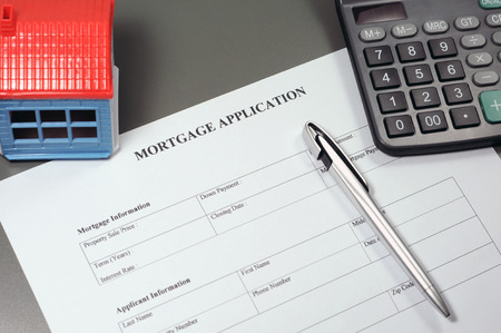 mortgage application: Close view of mortgage application form concept Stock Photo