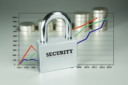 investmen: Conceptual  security of Investmen isolated on grey background Stock Photo