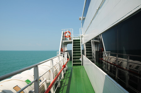 stateroom: View of ocean from port side of ship Stock Photo