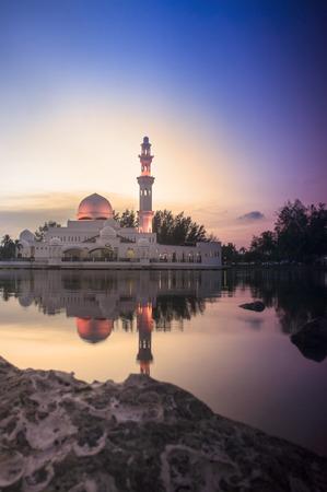 terengganu: Beautiful Mosque in Glorius Sunset at Terengganu Malaysia