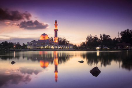 islamic scenery: Beautiful Tengku Zaharah Mosque in Glorius Sunset at Terengganu Malaysia