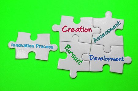 Innovation Process word on white puzzle - Leadership Concept
