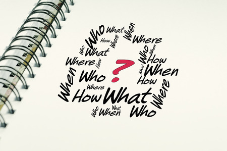 breaking new ground: Who what when where word on white notebook - Business Concept