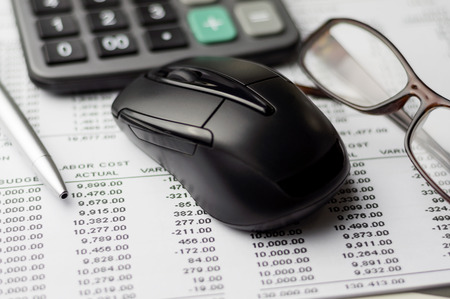 narrow depth of field: Close up of Accounting report with narrow depth of field Stock Photo