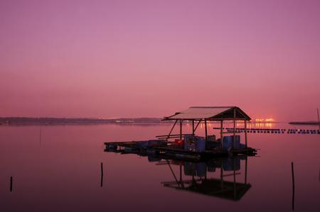 crepuscle: Sunrise on fisherman jety in Masai, Johor, Malaysia