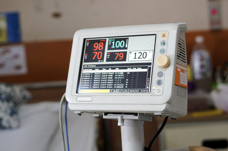 Measurements for blood pressure, pulse oximetry, pulse rate, and temperature 写真素材
