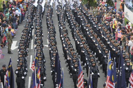 KUALA LUMPUR, MALAYSIA - AUGUST 31: Royal Malaysia Police participating during parade celebration of Malaysia Independence day 58th in Merdeka square, Kuala Lumpur, Malaysia on August 31, 2015