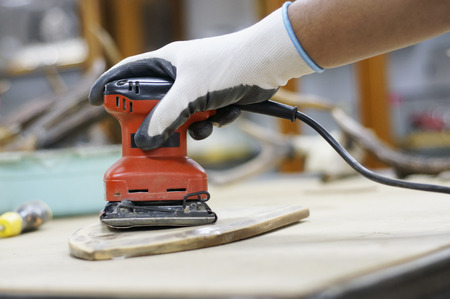 narrow depth of field: Close up vie of Electric Sander with Narrow Depth of Field