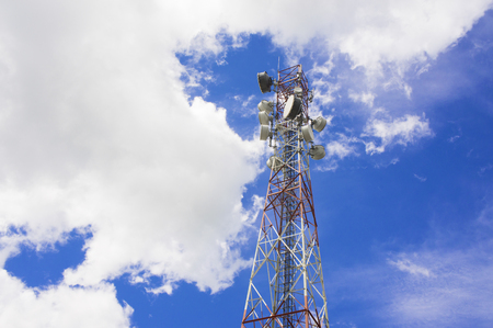 repeater: Telecommunication repeater tower on blue sky Stock Photo