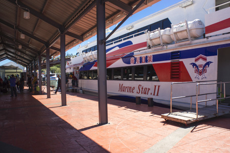 langkawi island: LANGKAWI ISLAND, MALAYSIA - NOVEMBER 28: Ferry from Langkawi Island awaiting the passenger before depart to Kuala Kedah jetty,12 km from Alor Setar, Kedah, Malaysia on November 28, 2015. Editorial