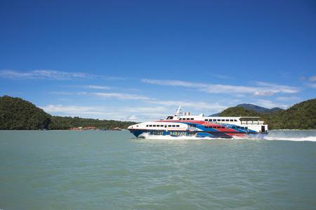 langkawi island: LANGKAWI ISLAND, MALAYSIA - NOVEMBER 28: Ferry from Kuala Kedah approached to Langkawi island, Malaysia on November 28, 2015.