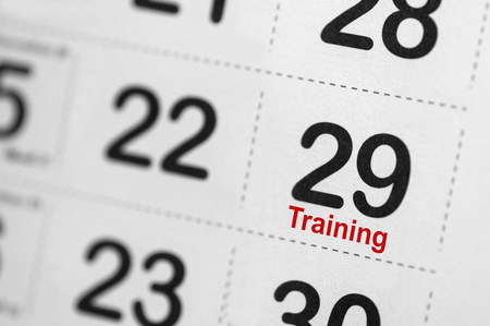 freetime activity: Training text reminder on calender Stock Photo