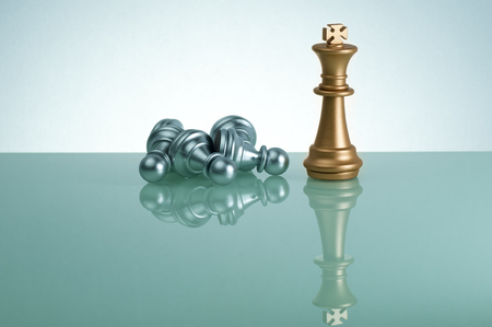 pawn to king: Golden King and silver pawn on chess game - Leadership Concept