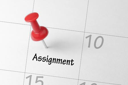 assignment: Assignment reminder on calendar - Business Concept