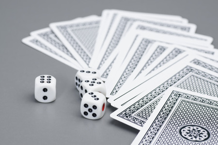 lear: Close up of dices and card Stock Photo