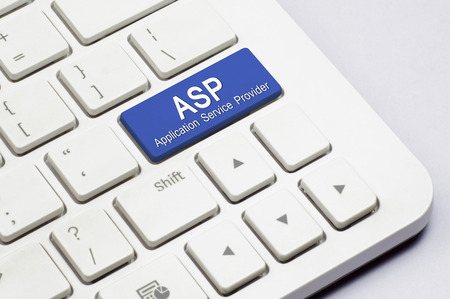 asp: ASP or Application Service Provider text on the white Keyboard Stock Photo