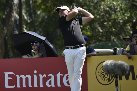 morrison: SUBANG, MALAYSIA - FEB 9: James Morrison of England teeing off during first round of Maybank Championship 2017 in Saujana Golf and Country Club on February 9, 2017 in Subang, Malaysia. Editorial