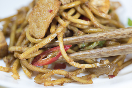 mie noodles: Fried noddle Stock Photo
