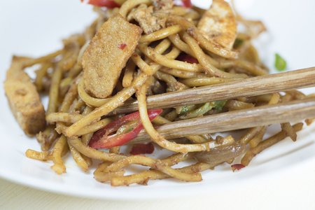 mie noodles: Delicious fried noddles with chopstick