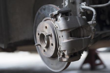Close up of car disc brake with selected focus for repair
