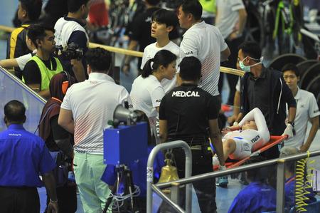 NILAI, NEGERI SEMBILAN - FEBRUARY 17: Korean rider fell during women junior team pursuit finals of 38th ASIAN TRACK CHAMPIONSHIP 2018 at National Velodrome, Nilai, Malaysia on February 17, 2018