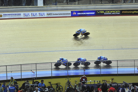 NILAI, NEGERI SEMBILAN - FEBRUARY 17: Hong Kong team race during women junior team pursuit finals of 38th ASIAN TRACK CHAMPIONSHIP 2018 at National Velodrome, Nilai, Malaysia on February 17, 2018 Stock Photo - 95866838