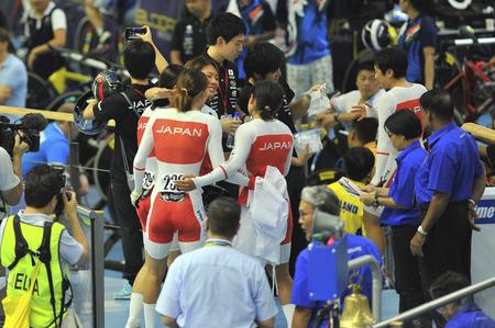 Nilai, Negeri Sembilan - February 17: Japan women elite team celebrating their win during women elite team pursuit finals of 38th Asian Track Championship 2018 at National Velodrome Malaysia, Nilai, Negeri Sembilan on February 17, 2018.