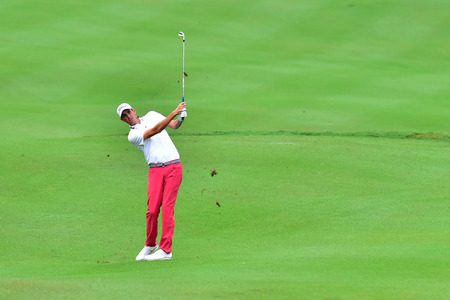 KUALA LUMPUR, MALAYSIA - October 11: Chesson Hadley of USA play the second shot at hole 2 during 1st round of CIMB CLASSIC 2018 at TPC KUALA LUMPUR, KUALA LUMPUR, MALAYSIA on October 11, 2018.