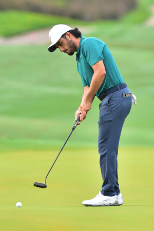 KUALA LUMPUR, MALAYSIA - October 11: Abraham Ancer of Mexico make a putt at the green 2 during 1st round of CIMB CLASSIC 2018 at TPC KUALA LUMPUR, KUALA LUMPUR, MALAYSIA on October 11, 2018.
