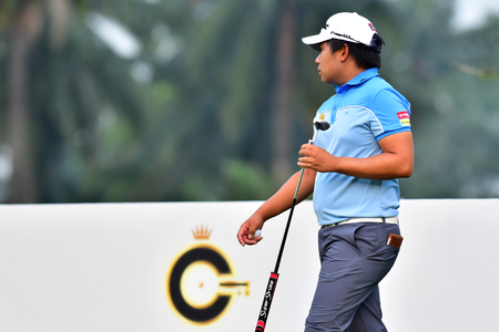 Kuala Lumpur - March 21: Poom Saksansin of Thailand pictured at 11th hole, during Round 1 of Maybank Championship 2019, at Saujana  Golf & Country Club,  Kuala Lumpur, Malaysia , on March 21, 2019.