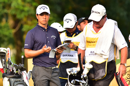 Kuala Lumpur - March 21: Ryo Ishikawa(L) of Japan pictured during Round 1 of Maybank Championship 2019, at Saujana  Golf & Country Club,  Kuala Lumpur, Malaysia , on March 21, 2019.