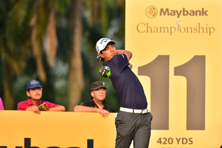 Kuala Lumpur - March 21: Ryo Ishikawa of Japan shot tee at 11th hole, during Round 1 of Maybank Championship 2019, at Saujana  Golf & Country Club,  Kuala Lumpur, Malaysia , on March 21, 2019.