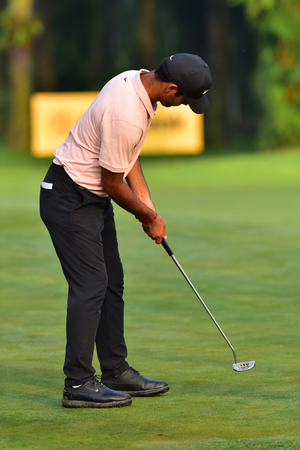 Kuala Lumpur - March 21: Shubankar Sharma of India play his putt at 10th hole, during Round 1 of Maybank Championship 2019, at Saujana  Golf & Country Club,  Kuala Lumpur, Malaysia , on March 21, 2019.
