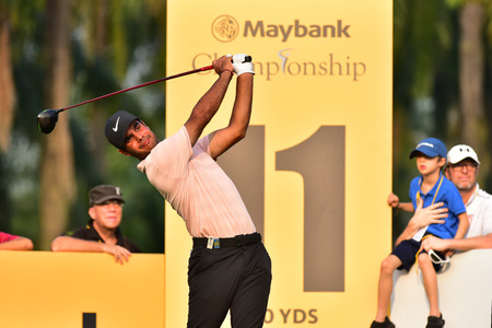 Kuala Lumpur - March 21: Shubankar Sharma of India shot tee at 11th hole, during Round 1 of Maybank Championship 2019, at Saujana  Golf & Country Club,  Kuala Lumpur, Malaysia , on March 21, 2019.