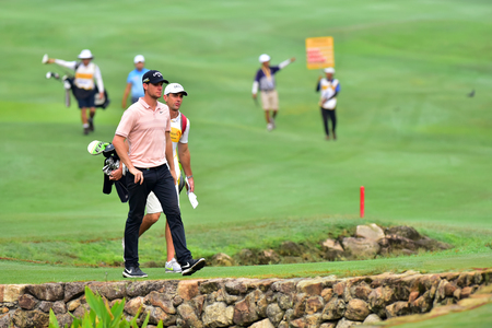 Kuala Lumpur - March 21: Thomas Pieters of Belgia walk to 10th green, during Round 1 of Maybank Championship 2019, at Saujana  Golf & Country Club,  Kuala Lumpur, Malaysia , on March 21, 2019.