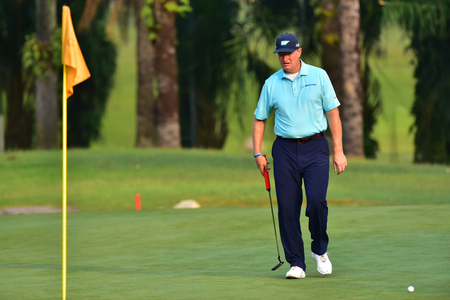 Kuala Lumpur - March 21: Ernie Els of South Africa pictured during Round 1 of Maybank Championship 2019, at Saujana  Golf & Country Club,  Kuala Lumpur, Malaysia , on March 21, 2019.