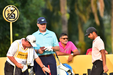Kuala Lumpur - March 21: Ernie Els(C) of South Africa pictured during Round 1 of Maybank Championship 2019, at Saujana  Golf & Country Club,  Kuala Lumpur, Malaysia , on March 21, 2019.