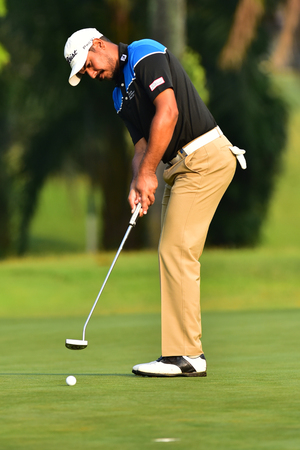 Kuala Lumpur - March 21: Gaganjeet Bhullar of India, play his putt at 10th hole, during Round 1 of Maybank Championship 2019, at Saujana  Golf & Country Club,  Kuala Lumpur, Malaysia , on March 21, 2019.