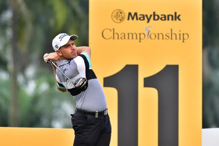 Kuala Lumpur - March 21: Jake Higginbottom of Australia shot his tee at 11th hole, during Round 1 of Maybank Championship 2019, at Saujana  Golf & Country Club,  Kuala Lumpur, Malaysia , on March 21, 2019. Editorial