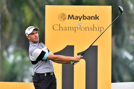 Kuala Lumpur - March 21: Jake Higginbottom of Australia watch his tee at 11th hole, during Round 1 of Maybank Championship 2019, at Saujana  Golf & Country Club,  Kuala Lumpur, Malaysia , on March 21, 2019. Editorial