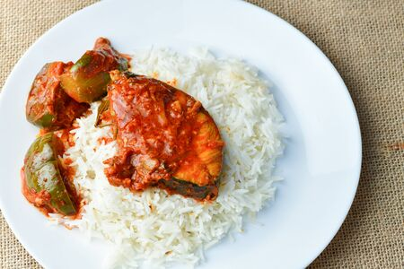 Close up of Malaysian Dish  Asam Pedas with white rice