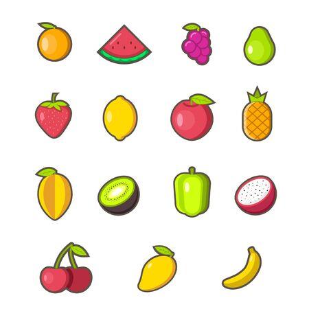 Set of fruit icon and elements. Flat design Ilustração
