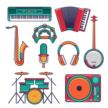 Set of music instrumental icon and elements. Flat design