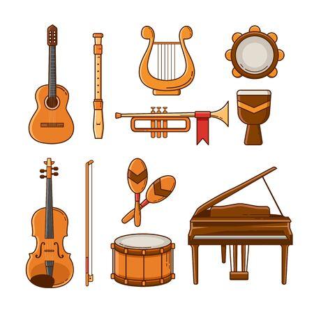 Conjunto de icono y elementos de música instrumental. Diseño plano