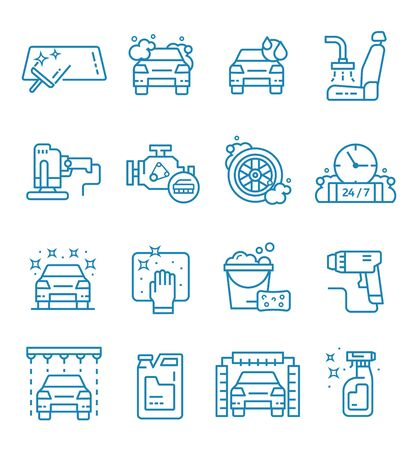 Set of car wash icons with outline style. Vektorové ilustrace