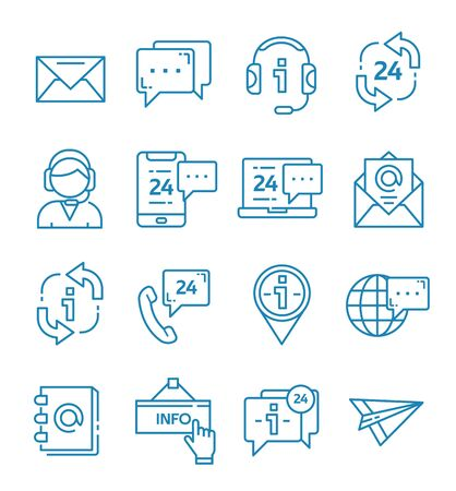 Set of contact us and support icons with outline style. Çizim