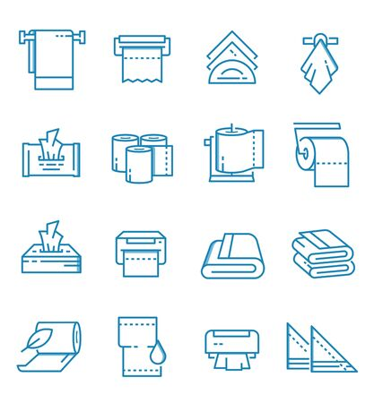 Set of towels and napkins icons with outline style.