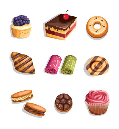 Bakery product set icons and elements.