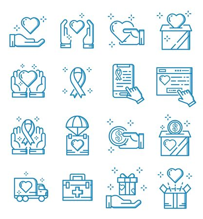 Set of donate and charity icons with outline style.