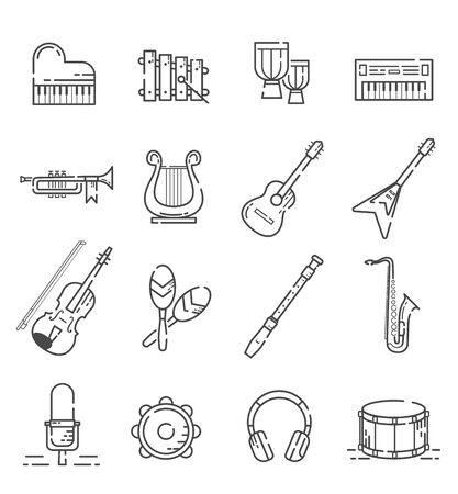 Set of musical instrument icons with outline style. Vecteurs